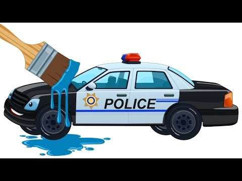 learn colors with cars kids police car coloring book learning video for children by kids