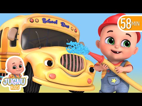 The Wheels On The Bus in Garage | Construction truck, fire trucks - Learn English with Songs