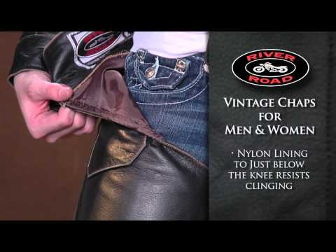 River Road Vintage Leather Motorcycle Chaps • Shop J&P Cycles