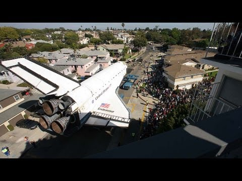 shuttle - Space shuttle Endeavour's final journey was a 12-mile ride from LAX, through Inglewood, to the California Science Center in Exposition Park. Here it is in ti...