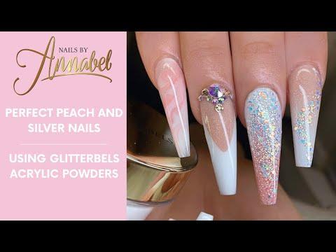 Nail salon - Peach & OmbréAll AcrylicGlitterbels AcrylicNotPolishExtended Nail bed/Glitter Fades/marble