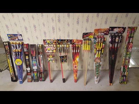 2017 Sky Rocket Comparison (Fireworks) Demo - 14 Rockets (AFW/World Class/Cutting Edge/Shogun)