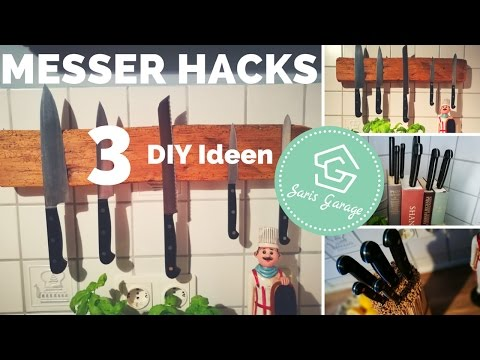 Messerblock selber machen - DIY Messer Hacks - magnetische Messerleiste aus Holz- DIY Ideen