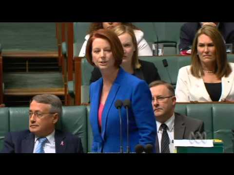 sexist - Julia Gillard comes out guns blazing against Tony Abbott in Parliament on October 9th 2012. Best performance I've seen from her for a long time.