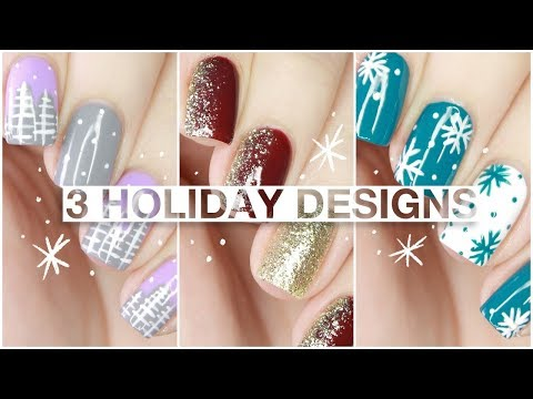 3 EASY Holiday Nail Designs With Little Ondine Twin Sets