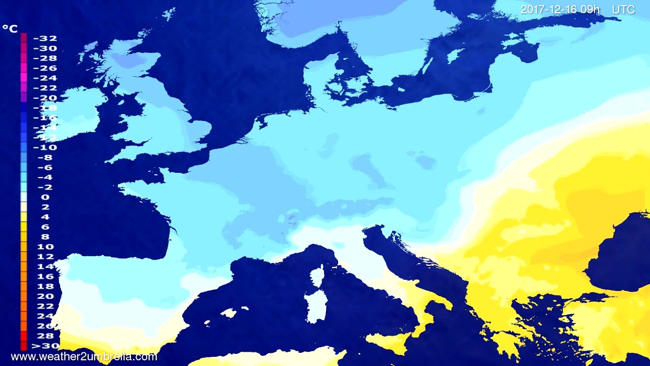 Temperature forecast Europe 2017-12-12