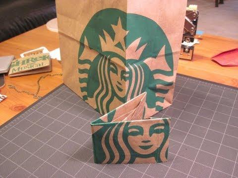 星巴克的紙袋別丟掉~幾個步驟就可做成文青版皮夾!
