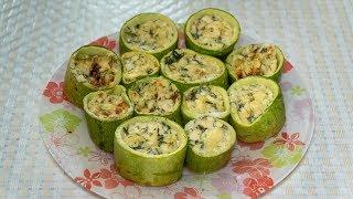 Кабачки фаршированные сыром и зеленью