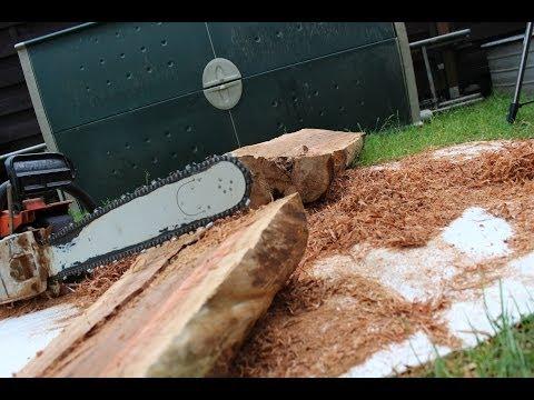 Holz mit der Kettensäge spalten // Säge mit der Flex schärfen