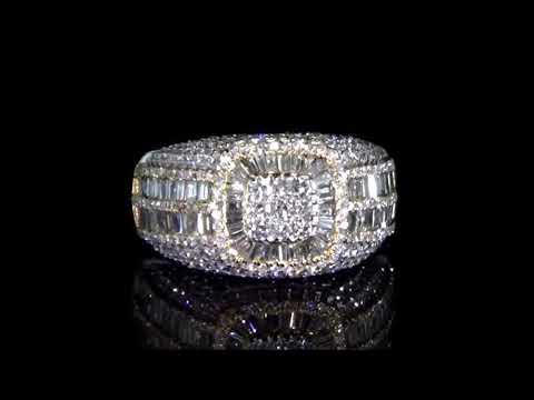 男裝14K白/黃金3克拉(總重)鑽石戒指