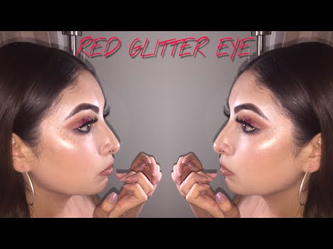 Make up - RED GLITTER EYE MAKEUP LOOK