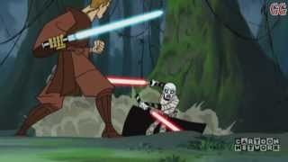 This is a Cartoon Network Micro-Mini Series from 2003-2005. It takes place in between Star Wars Episode 2 Attack of the Clones and Revenge of the SithThis is Season 2 Episode 8Episode Description: Ventress leads Anakin trough the jungles of Yavin VI towards the ancient Massassi Temples once inhabited by Exar Kun.