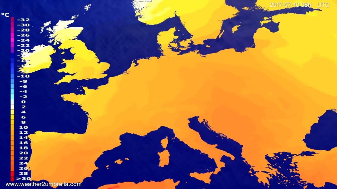 Temperature forecast Europe 2017-07-07
