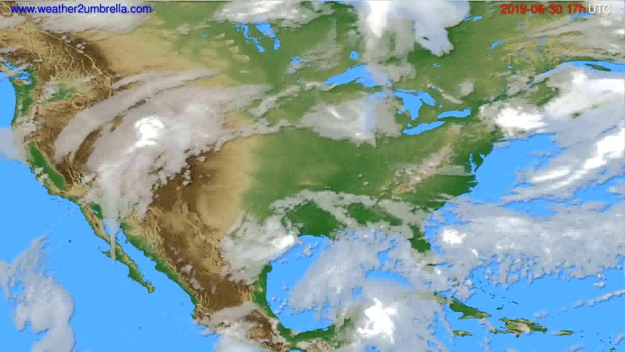 Cloud forecast USA & Canada // modelrun: 00h UTC 2019-06-29