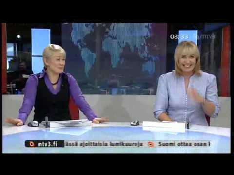 Finnish Female Blond News Anchor & Slippery Chair