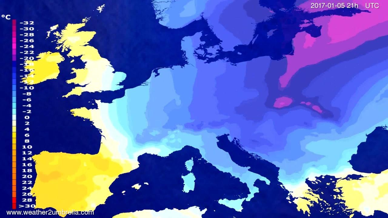 Temperature forecast Europe 2017-01-02