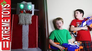 Robot Santa Claus Nerf Battle! Holiday Cyborg Attacks Ethan and Cole!
