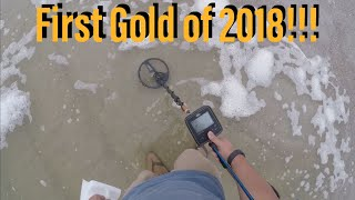 Video First GOLD of 2018! Metal detecting Jax beach. TreasurePro live digs in the wet & dry sand MP3, 3GP, MP4, WEBM, AVI, FLV Juli 2018
