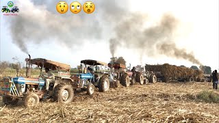 Tractor Stunt | 5 Tractor Tochan Together Pulling Stucked Trailer Ford & Massey in Action