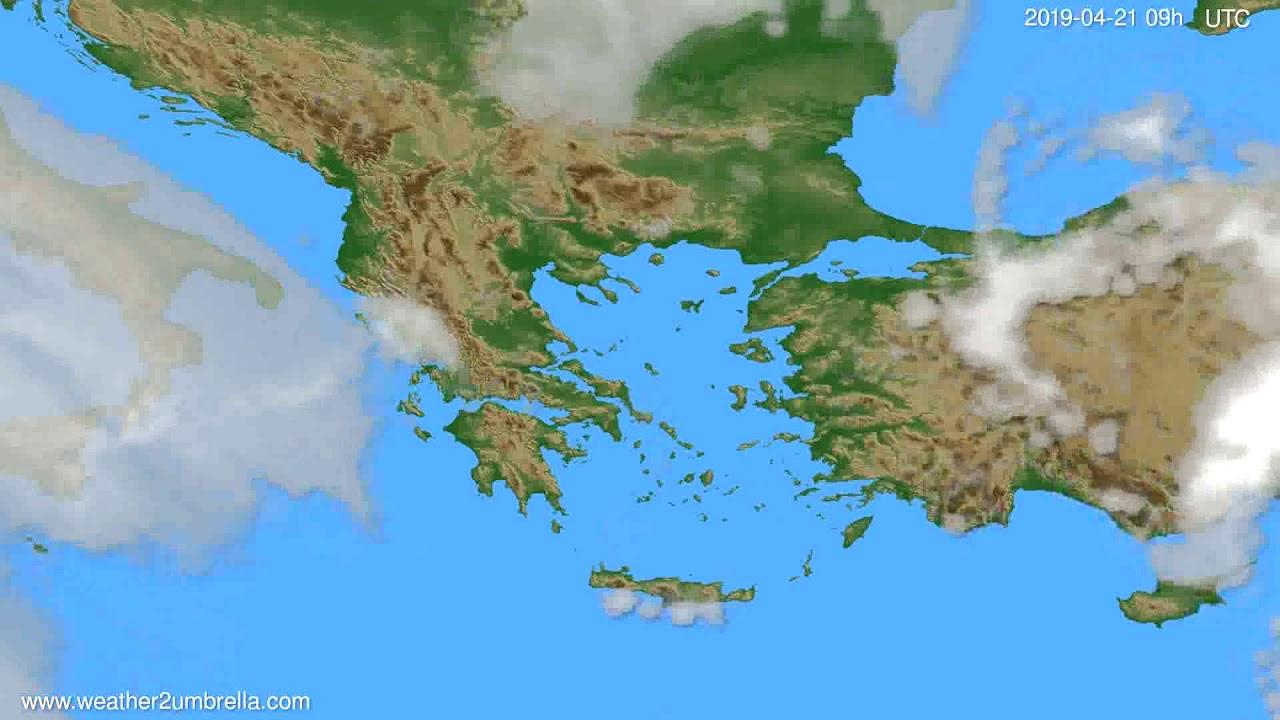 Cloud forecast Greece // modelrun: 12h UTC 2019-04-19