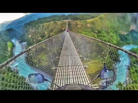 Riding on the Tallest Suspension Bridge in Nepal | Kushma - Gyadi Bridge