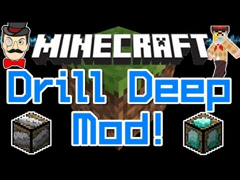 Minecraft Mods - DRILL DEEP Mod ! Gold & Diamonds - 1x1 Tunnels to Bedrock !