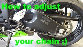 9. How to adjust a 20013-16 zx6r chain