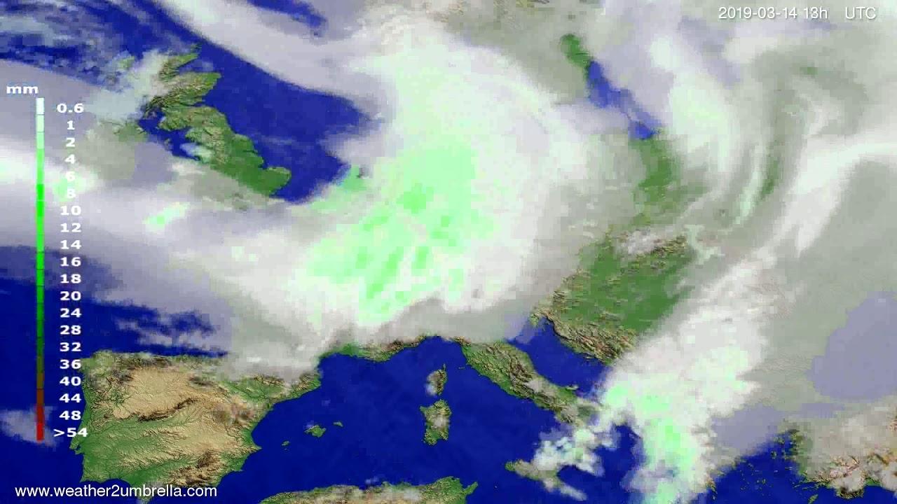 Precipitation forecast Europe 2019-03-14