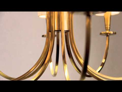 Video for Mason Aged Brass Eight-Light Chandelier with White Shade