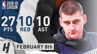 Nikola Jokic Triple-Double Highlights Nuggets vs 76ers 2019.02.08 - 27 Pts, 10 Reb, 10 Assists