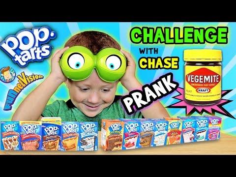 POP TART CHALLENGE & VEGEMITE PRANK on 4 Year Old CHASE (FUNnel Vision w/ Parents Battle) (видео)