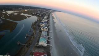 Some footage I got the day after thanksgiving, at Litchfield Beach!  The turnaround point was approximately 1 mile out.  Video was shot with a 250 mini quad.  Spanky frame, Mobius Action cam in 720p.  Sunnysky 2200kv motors, 5x3 props, OpenLRS UHF Rx and Tx on 1.3 video.