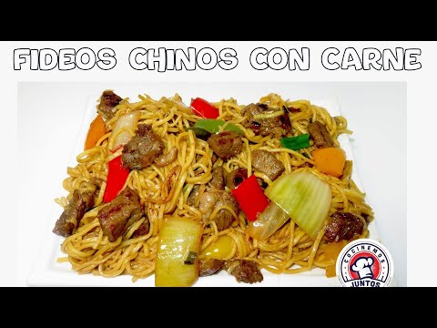 Tallarines chinos o Chow mein con carne - Comida China