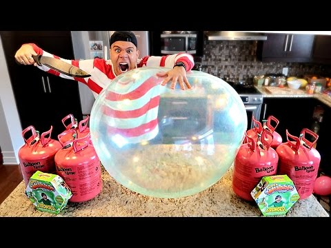 WUBBLE BUBBLE HELIUM EXPERIMENT!! (THIS BALLOON CAN NOT BE POPPED) IMPOSSIBLE CHALLENGE (видео)