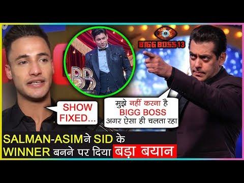 Salman Khan & Asim Riaz REACTS On Sidharth Shukla's Win As BIASED | Bigg Boss 13