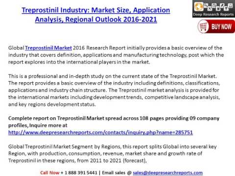 Treprostinil Market: Global Industry Size, Share, Growth and Forecast to 2021