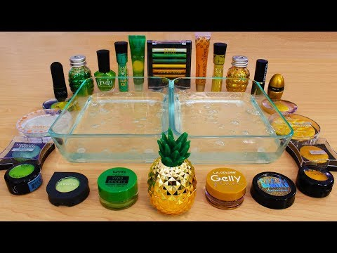 Green Vs Gold - Mixing Makeup Eyeshadow Into Slime! Special Series 84 Satisfying Slime Video