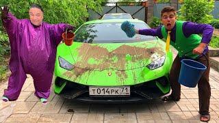 Mr. Joe in CAR WASH on Lamborghini Huracan VS Purple Fat Man Soiled with Dirt Hood Car for Kids