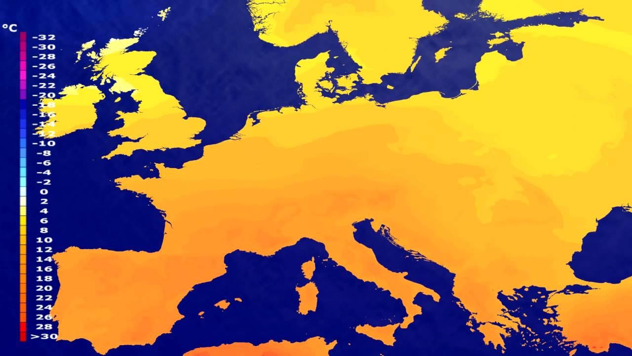 Temperature forecast Europe 2016-07-06