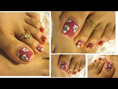 Decoracion de uñas - Pedicure con flores y foil dorado /Otoño e invierno/Floral design pedicure