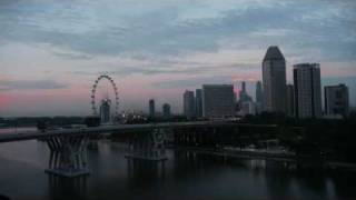 Singapore City Full Moon Sunrise