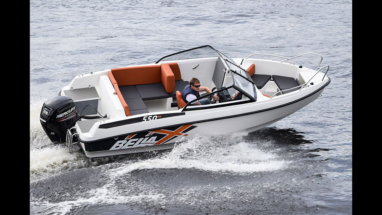 Прогулочный скоростной катер Bella 550 BR. Моторный катер идеально подходит как для морской рыбалки троллингом, так и для прогулок с комфортом.
