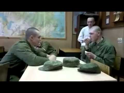 Soldier hit on the head with a spoon prank