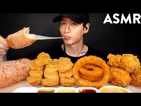 MOST POPULAR FOOD FOR ASMR (KFC, ONION RINGS, MOZZARELLA CORN DOG, CHICKEN NUGGETS) NO TALKING