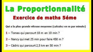 Maths 5ème - La proportionnalité la vitesse Exercice 5