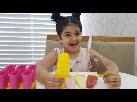 Meyve suyu ve fantadan dondurma ve meybuz yaptık-eğlence tv-fun kid video