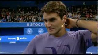 Roger Federer and Ivan Ljubicic practice in front of a packed house and play an exhibition match with two lucky kids + interview ...