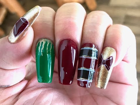 Gel nails - Tutorial   PLAID NAILS  Painted w/ Gel Polish / EASY Gel Polish Art