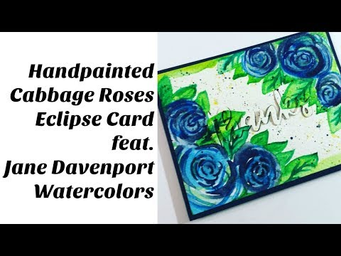 Watercolor Cabbage Roses  Eclipse Card (with Jane Davenport Brights)
