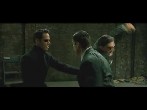 neo - The Neo vs Three Agents fight in the beginning of the movie...well near beginning anyway. Enjoy.